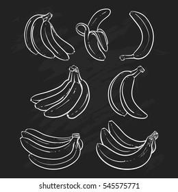 Yellow Bananas vector illustration on black background. Overripe Banana, Single Banana , Peeled Banana, Bunch of Bananas.