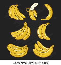 Yellow Bananas vector illustration on black background.