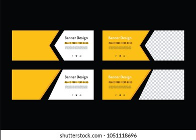 Yellow Banner Design set. Abstract facebook cover. Black and yellow sale poster.