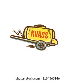 Yellow barrel for russian freshness drink. Kvass is bread beverage.