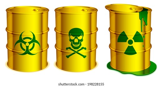 Yellow barrels with warning signs and toxic substance inside.