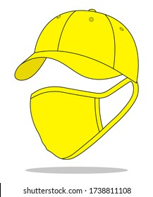 Yellow Baseball Cap & Anti Dust Mask Fabric With Safety Protection Vector For Template