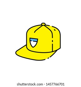 Yellow baseball cap line icon. Flat peak snapback headwear symbol. Modern hat sign. Vector illustration.