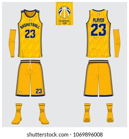 Yellow Basketball jersey or sport uniform template design for basketball club. Front and back view sport t-shirt design. Tank top t-shirt mock up with basketball flat logo design. Vector Illustration.