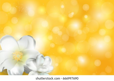 Yellow beautiful background with white magnolia flowers, shine and radiance, spring card for postcard and banner, summer floral design.