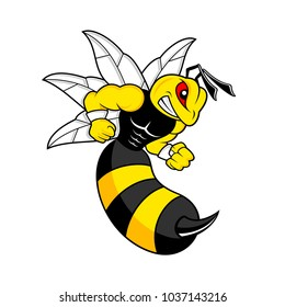 Yellow bee angry ready to fight logo