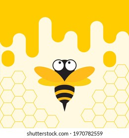 Yellow Bee and Honey Comb Vector Illustration