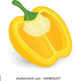 yellow bell pepper (capsicum pepper) vector illustration