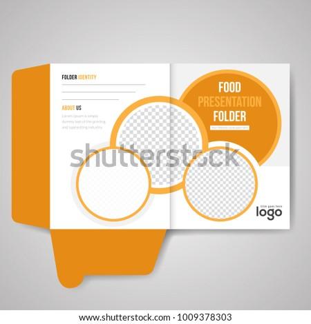 yellow bi fold presentation folder vector stock vector royalty free