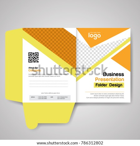 yellow bi fold presentation folder design stock vector royalty free