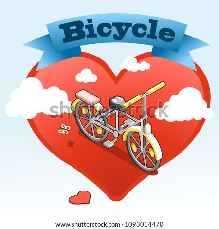 Yellow bicycle with heart shape and clouds in background, banner on top (illustration in isometric view)
