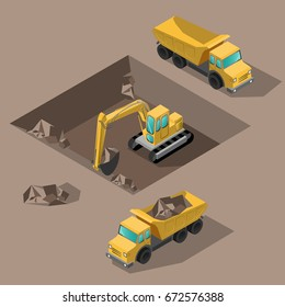 Yellow big digger builds roads gigging of ditch isometric vector illustration or icon