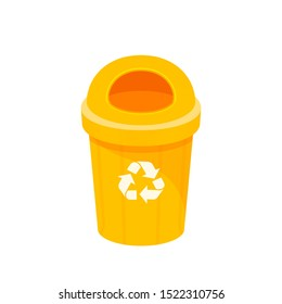 yellow bin isolated on white background, clip art of recycle bin small, illustration yellow bin plastic, flat icon bin waste, yellow trash can, dustbin for garbage with recycle symbol