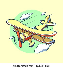 Yellow biplane, propeller model aircraft with two wings. Aircraft from World War. Old retro airplane designed for poster printing. Flying biplane vector is beautifully drawn.