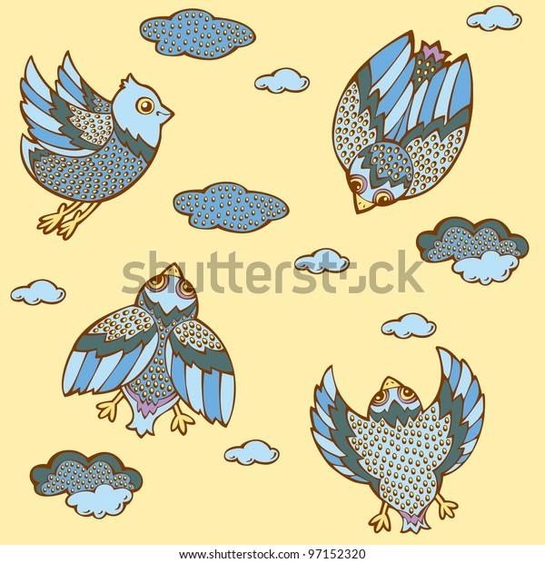 yellow birds in the sky