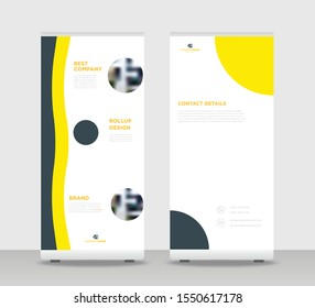 Yellow black Abstract Shapes Modern Exhibition Advertising Trend Business Roll Up Banner Stand Poster Brochure flat design template creative concept. Yellow black Roll Up EPS. Presentation Cover
