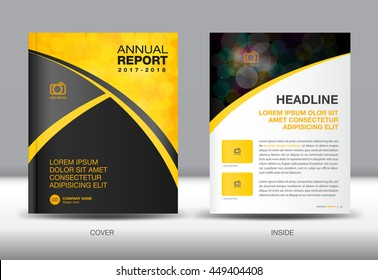 Yellow and black Annual report template, cover design, brochure flyer, booklet, portfolio, Leaflet, presentation, book, catalogs, newsletter, butterfly, magazine ads