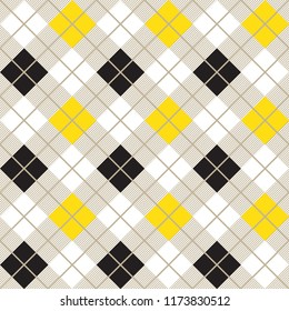 Yellow And Black Argyle Diagonal Decorative Seamless Harlequin Pattern