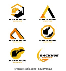 Yellow and Black Backhoe service logo vector set design