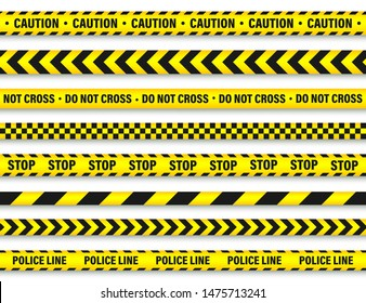 Yellow and Black Barricade Construction Tape Collection. Police Warning Line. Brightly Colored Danger or Hazard Stripe. Vector illustration.