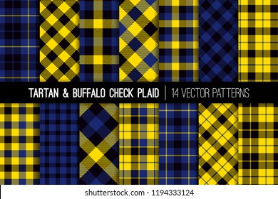 Yellow, Black and Blue Tartan and Buffalo Check Plaid Vector Patterns. Trendy 90's Style Fashion Textile Prints. Classic Scottish Checkered Fabric Textures. Pattern Tile Swatches Included.
