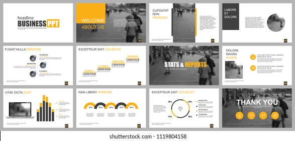 Yellow and black business presentation slides templates from infographic elements. Can be used for presentation template, flyer and leaflet, brochure, marketing, advertising, annual report, banner.