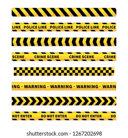 Yellow and black caution tapes, seamless borders set isolated on white