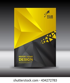 Yellow and black Cover design Annual report vector illustration, booklet, poster, cover template advertisement template, magazine cover, book cover, business brochure flyer in A4