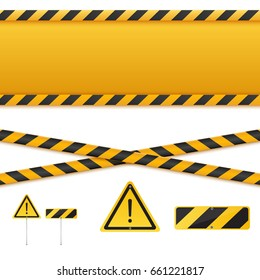 Yellow and black danger tapes. Caution lines and signs isolated on white. Vector illustration.
