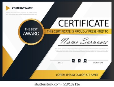 Yellow black Elegance horizontal certificate with Vector illustration ,white frame certificate template with clean and modern pattern presentation