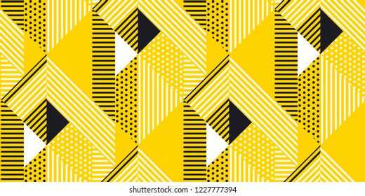 Yellow and black geometric modern seamless pattern. Repeatable motif with striped and polka dot textures. Vector illustration.