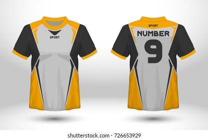 Yellow and black layout football sport t-shirt design. Template front, back view. Soccer kit national team shirt mock up. Vector Illustration.
