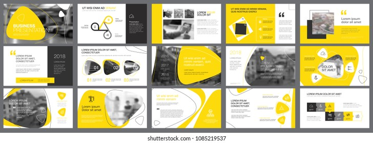 Yellow and black logistics or management concept infographic set. Business design elements for presentation slide templates. Can be used for annual report, advertising, flyer layout and banner design.