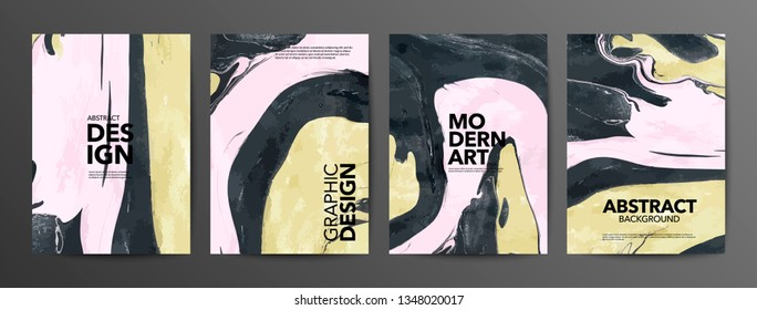 Yellow and black mixed paints textures set. Marble art abstract backdrop with copyspace. Fluid paint mixing drawing with text space. Modern art flyer, book, magazine cover vector mockup