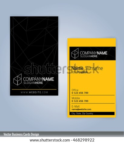 Yellow black modern business card template stock vector royalty yellow and black modern business card template vertical illustration vector 10 accmission Gallery