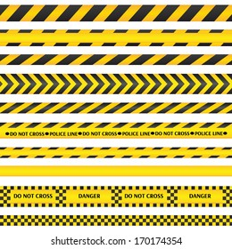 Yellow with black police line and danger tapes. Vector illustration.