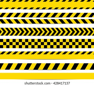 Yellow with black police line and danger tapes. Vector