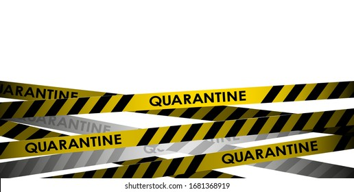 Yellow With Black Police Line. Do Not Enter, Danger. Security Quarantine Tapes. Isolated On white Background. Vector Illustration.