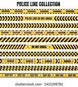 Yellow and black police tape For warning of dangerous areas isolate on white background.