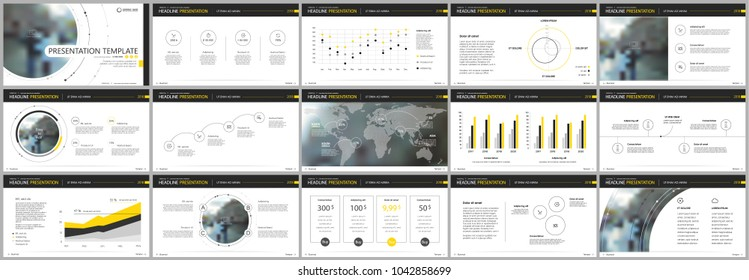 Yellow black presentation templates elements on a white background. Vector infographics. Use in Presentation, flyer and leaflet, corporate report, marketing, advertising, annual report, banner.