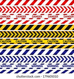 Yellow with black, red with white and blue with white police lines and danger tapes on white background. Vector illustration.