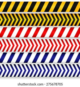 Yellow with black, red with white and blue with white police line, security warning, danger tapes set. For web, criminal and law design. Vector illustration.