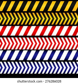 Yellow with black, red with white and blue with white police line, security warning, danger tapes. For web, criminal and law design. Vector illustration.