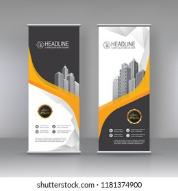Yellow black Roll up banner stand brochure flyer vertical template design, covers, infographics ,vector abstract   geometric background, modern x-banner and flag-banner advertising design element