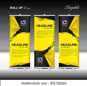 Yellow and black Roll Up Banner template, stand layout, flyer design, advertisement, display vector