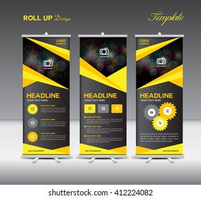 Yellow and black Roll Up Banner template and info graphics, stand design,banner template,vector illustration