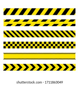 Yellow and black set stripes. Barricade construction tape. Police warning and hazard stripe. Vector illustration isolated on white background