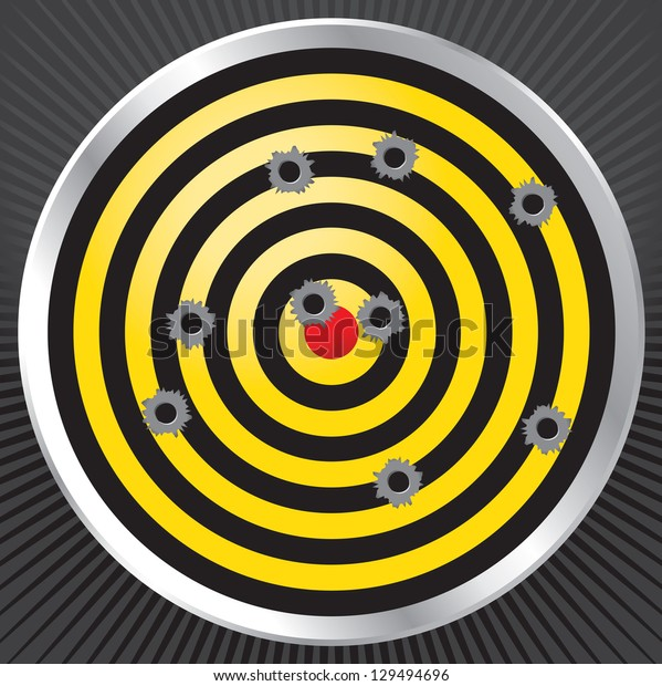 Yellow and black shooting range target shot full of bullet holes. Bullet holes, target and background are layered for easy separation.