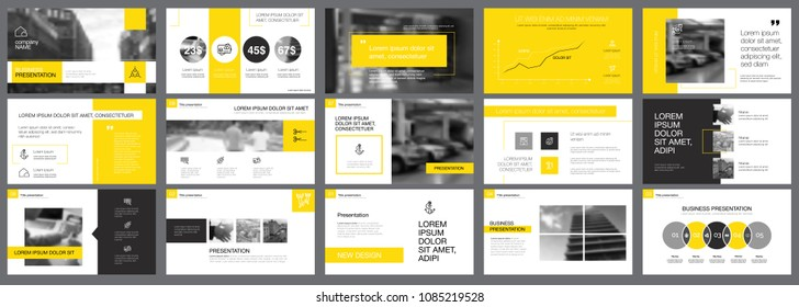 Yellow and black statistics or marketing concept infographic set. Business design elements for presentation slide templates. Can be used for financial report, workflow layout and brochure design.