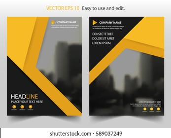 Yellow black triangle Vector Brochure annual report Leaflet Flyer template design, book cover layout design, abstract business presentation template, a4 size design